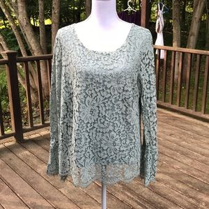 Rose+Olive XL sage green bell sleeves lace blouse